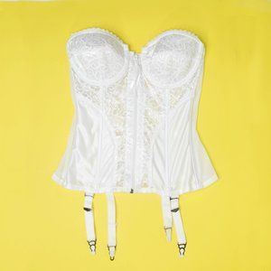 FofH White Lace Corset Longline Strapless Bra